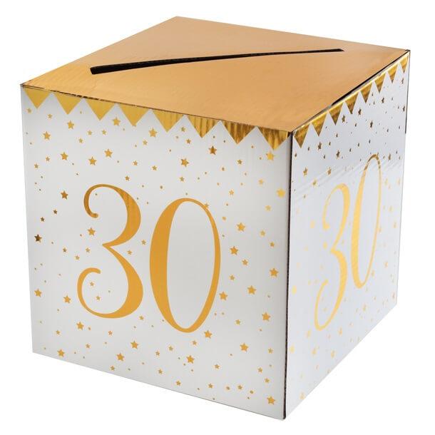 Tirelire anniversaire 30ans blanche et or