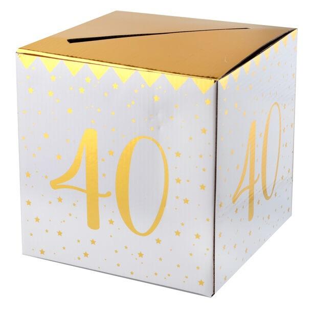 Tirelire anniversaire 40ans blanche et or