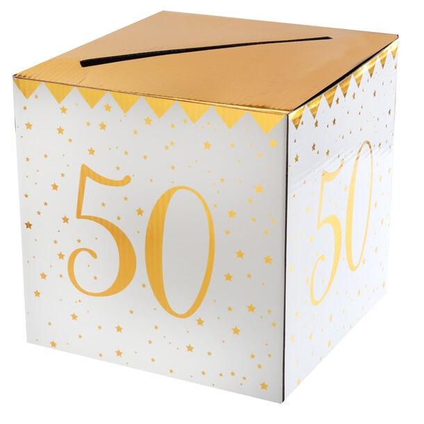 Tirelire anniversaire 50ans blanche et or