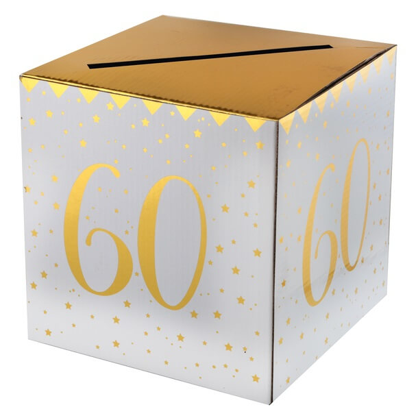 Tirelire anniversaire 60ans blanche et or
