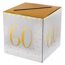 Tirelire anniversaire blanche et or 60ans (x1) REF/6186