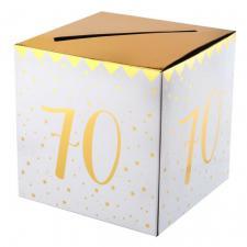 Tirelire anniversaire blanche et or 70ans (x1) REF/6186