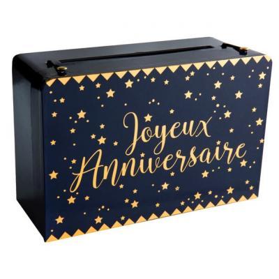 Tirelire joyeux anniversaire bleu marine et dorée métallisée (x1) REF/5671