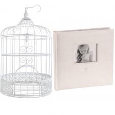 R/6621-3871 - 1 Tirelire cage et livre d'or photo mariage blanc