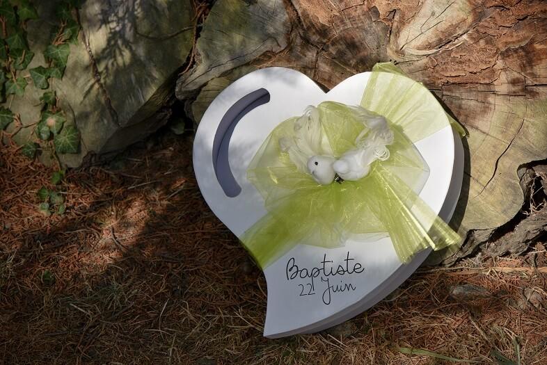 Tirelire et livre d or bapteme coeur vert d eau mint