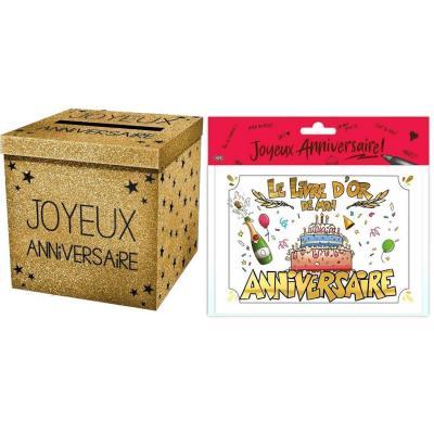 Urne et livre d'or joyeux anniversaire multicolore or (x1) R/URNEP00OR-LDOR00