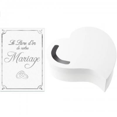 1 Pack Urne mariage coeur et livre d'or vive les mariés R/3841-LDORM