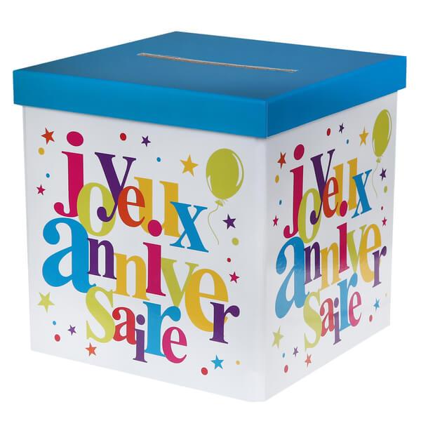 Tirelire joyeux anniversaire festive multicolore