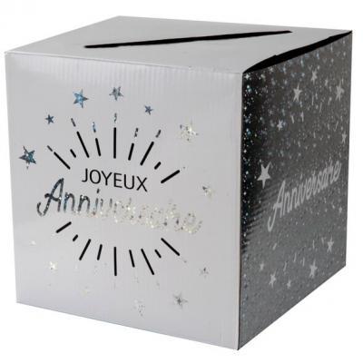 Tirelire joyeux anniversaire blanc et argent métallique (x1) REF/6652
