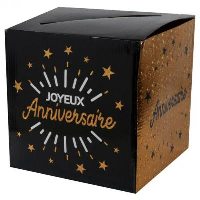 Tirelire joyeux anniversaire noir et or métallique (x1) REF/6652
