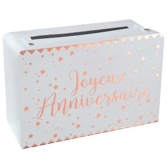 Tirelire joyeux anniversaire valise blanche et doree metallisee
