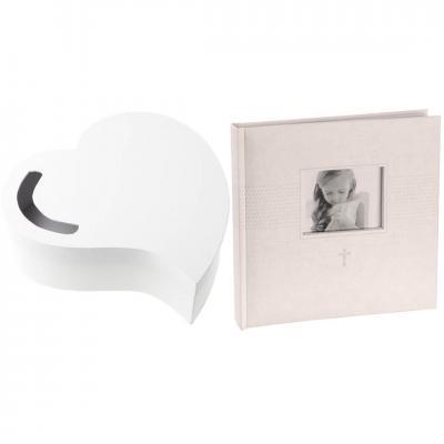 R/6621-3841 - 1 Tirelire coeur et livre d'or photo mariage blanc