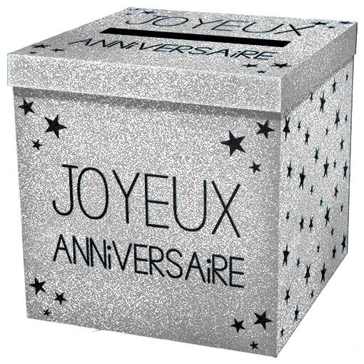 Tirelire urne joyeux anniversaire argent pailletee