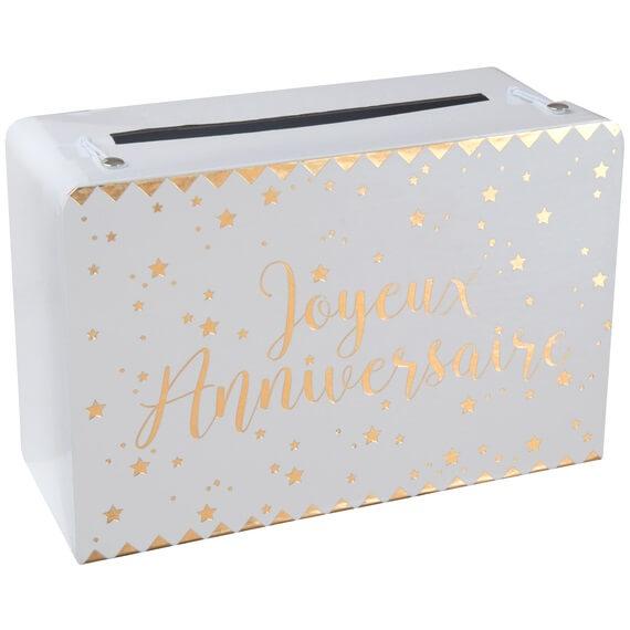 Tirelire urne joyeux anniversaire blanche et or metallisee