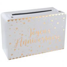 Tirelire joyeux anniversaire blanche et dorée métallisée (x1) REF/5671