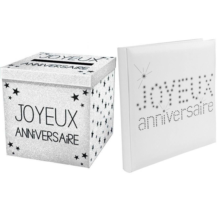 Tirelire urne joyeux anniversaire blanche pailletee 1
