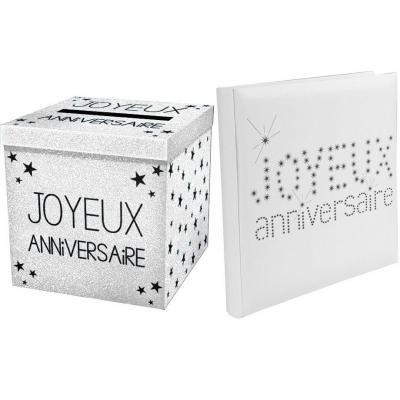1 Pack tirelire et livre d'or joyeux anniversaire blanc R/4011-URNEP00BA