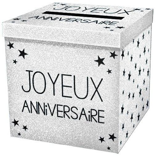 Tirelire urne joyeux anniversaire blanche pailletee