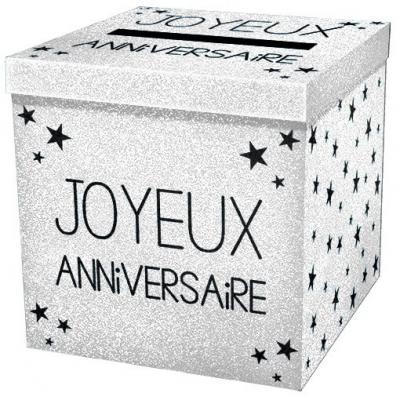 Urne joyeux anniversaire pailleté blanc (x1) REF/URNEP00BA