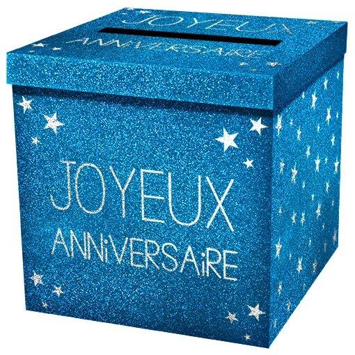 Tirelire urne joyeux anniversaire bleu pailletee