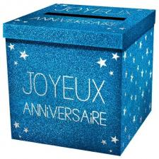 Urne joyeux anniversaire pailleté bleu (x1) REF/URNEP00B