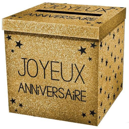 Tirelire urne joyeux anniversaire or pailletee