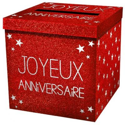 Urne joyeux anniversaire pailleté rouge (x1) REF/URNEP00R