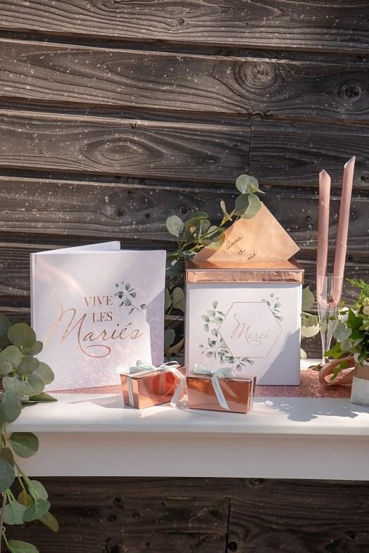 Tirelire urne mariage champetre bucolique blanc vert et rose gold