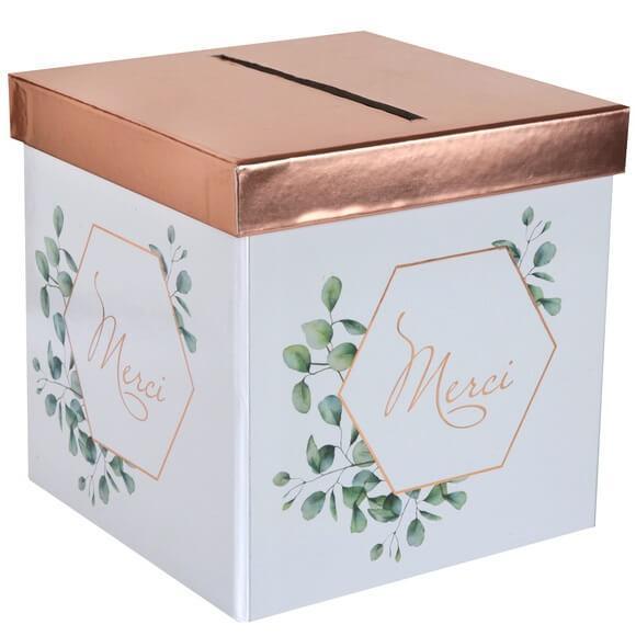 Tirelire urne mariage champetre bucolique blanche verte et rose gold
