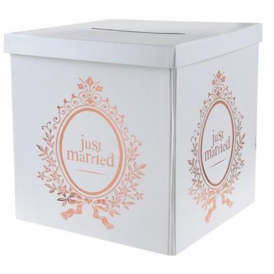 Tirelire urne mariage Just Married blanche et rose gold métallique (x1) REF/6906