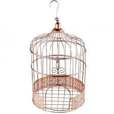 Tirelire urne cage à oiseau rose gold métallique (x1) REF/6202