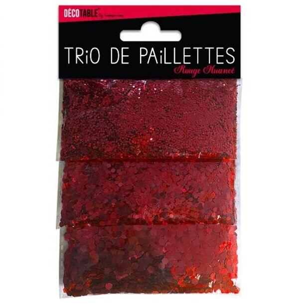Trio de paillettes rouge