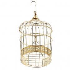 Tirelire urne cage à oiseau or métallique (x1) REF/6202