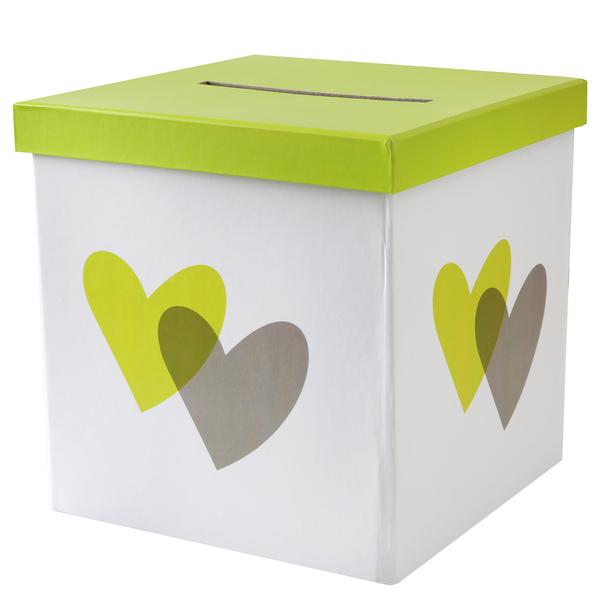 Urne de mariage coeur vert