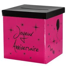 Urne joyeux anniversaire fuchsia et noir (x1) REF/4884