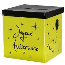 Urne joyeux anniversaire vert et noir (x1) REF/4884