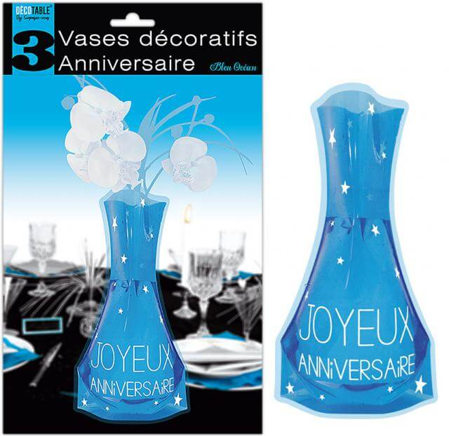 Vase anniversaire bleu
