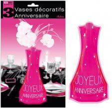 Vase anniversaire fuchsia (x3) REF/VASE00F