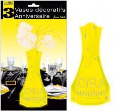Vase anniversaire jaune soleil (x3) REF/VASE00J