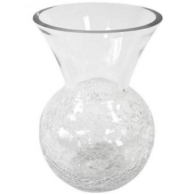 Vase transparent arrondi avec base craquelée 23cm (x1) REF/VER2020
