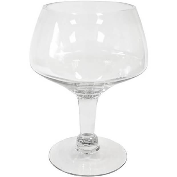 Vase coupe sur pied transparent