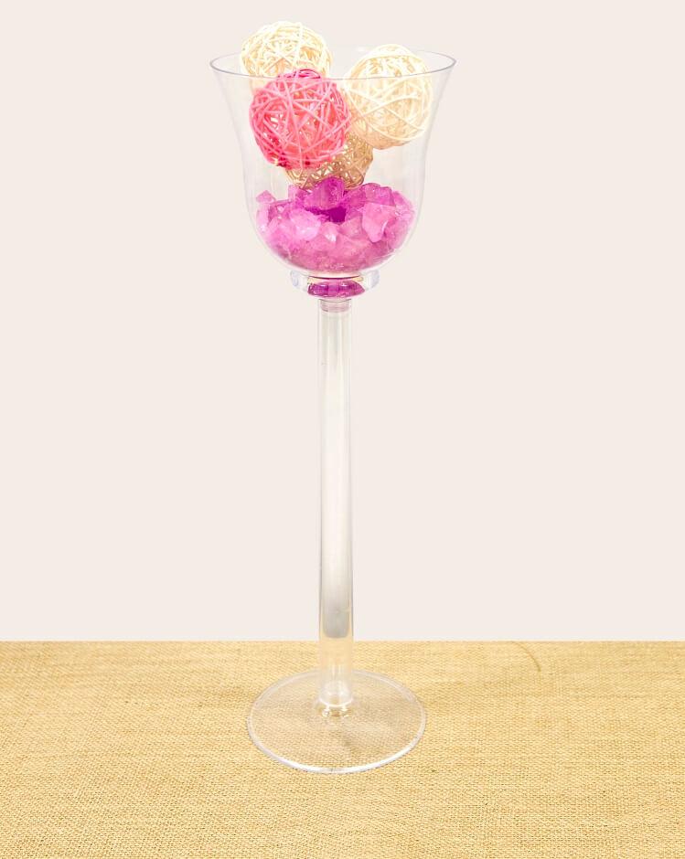 Vase coupe verre a pied transparente