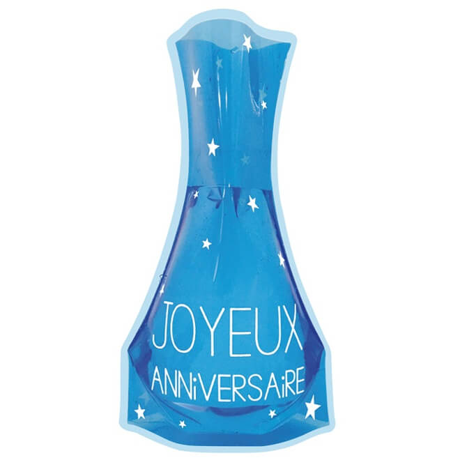 Vase decoratif joyeux anniversaire bleu en pvc
