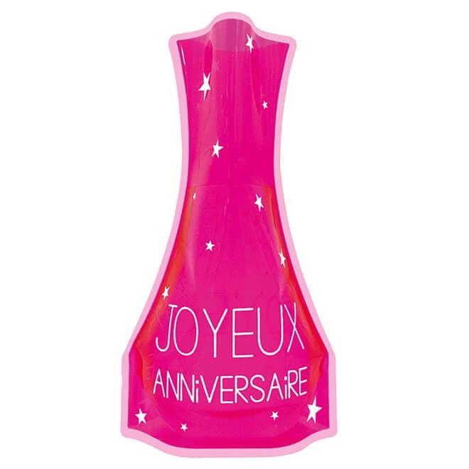 Vase decoratif joyeux anniversaire fuchsia en pvc