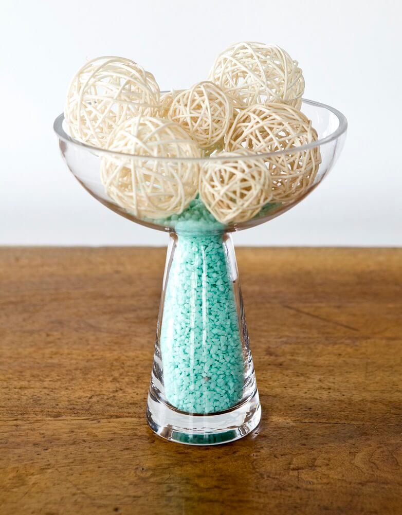 Vase en verre coupe sur pied transparente