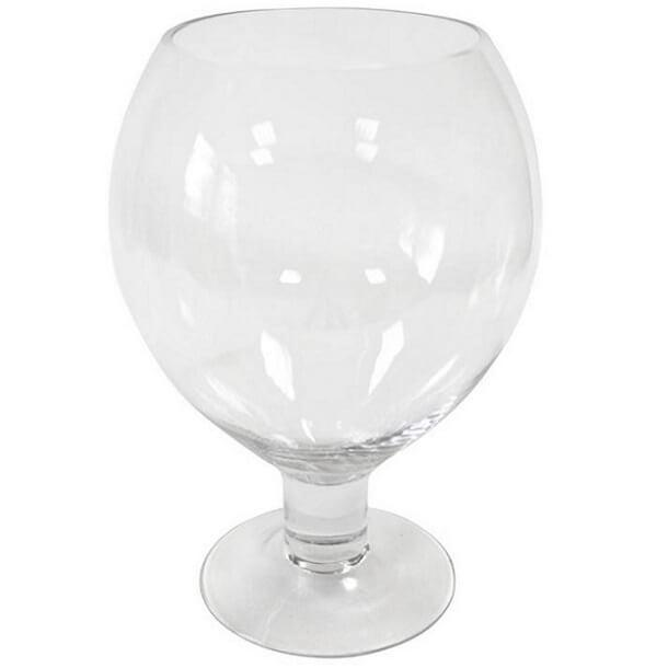 Vase verre ballon 25cm transparent en location
