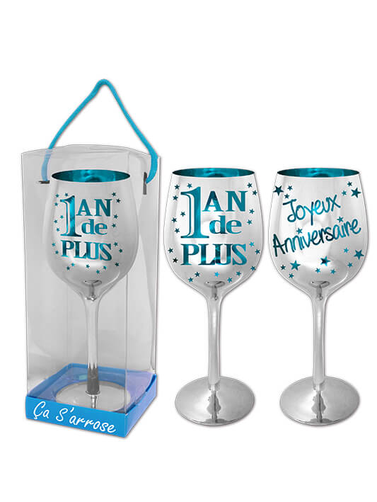 verre vin anniversaire 1an de plus bleu x1 ref vvcb00. Black Bedroom Furniture Sets. Home Design Ideas