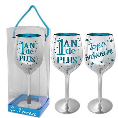 Verre à vin anniversaire 1an de plus: Bleu (x1) REF/VVCB00
