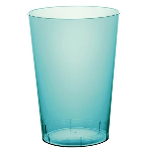 Verre plastique bleu turquoise